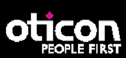 Oticon logo and short cut to Oticon hearing aids